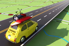 Car loaded with luggage on the road to summer vacation. 3D Rendering Stock Photo