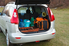 Car loaded with open trunk and luggage Stock Photos