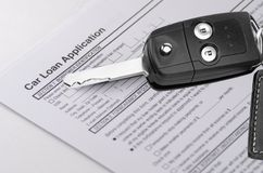 Car Loan Application Form With Keys Stock Photos