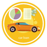 Car loan approved. Document with dollars money. Modern car on stylish background in flat cartoon design style Stock Image