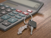 Car Loan Calculation. Concept with car keys stock image