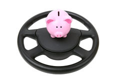 Car loan. Saving up for car , car loan piggy bank isolated on white background stock photography