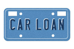 Car Loan Vanity Plate. Getting a car loan, The words Car Loan on a blue license plate isolated on white royalty free stock images