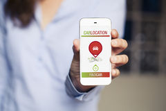 Car location app design in a smart phone. Stock Image