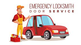 Car Locksmith Worker Service Vector. Classic Serviceman. Locksmith Repairman Vector. Unlock The Door Service. Cartoon Character Illustration Royalty Free Stock Image