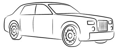 Car - logo. Line drawing of luxury car Royalty Free Stock Photo