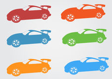 Car logo design red, yellow, green, blue,car symbol Stock Photos