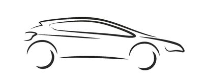 Cars logo. Sketch of a logo of the sports car Royalty Free Stock Photos