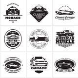 Car logos, retro style vevtor labels stock illustration
