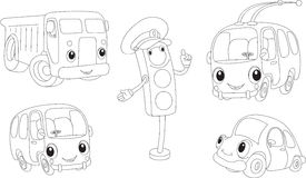 Car, lorry, bus, trolleybus and traffic lights. Coloring book Royalty Free Stock Photos