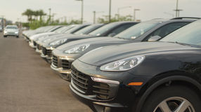 Car lot - sales auto dealership Stock Images