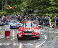 The Car of Lotto-Belisol Team - Tour de France 2014. Le Markstein, France- July 13, 2014:The car of Lotto-Belisol Team during the passing the caravan of the Stock Photos