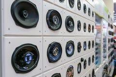 Car loudspeakers in shop stock photos