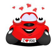 Car in love. The cartoon car in love Stock Image