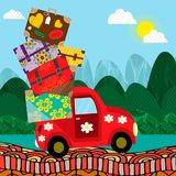 Car with luggage going to the trip . Vector illustration. Eps10 file. royalty free illustration