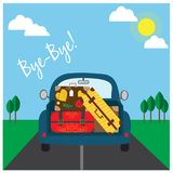 Car with luggage going to the trip . Vector illustration. Eps10 file. Car with luggage going to the trip . Vector illustration Royalty Free Stock Image