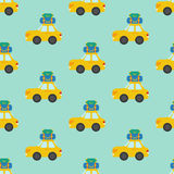 Car with luggage seamless pattern. On the blue background. Vector illustration Royalty Free Stock Photo