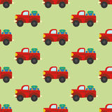 Car with luggage seamless pattern. On the green background. Vector illustration Stock Photos