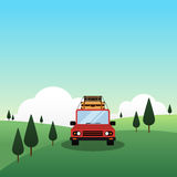 A car with luggage on top, travel concept flat design. A car with luggage on top drive through mountain landscape, travel concept flat design  illustration Royalty Free Stock Images