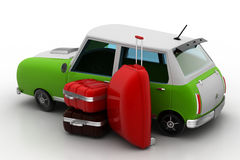Car with luggage. In white background Royalty Free Stock Photo