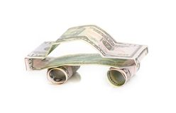 Car made from dollar  on white background Stock Photos