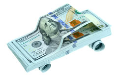 Car made of dollars Stock Images