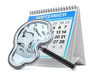 Car magnifying glass with calendar Stock Image