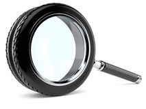 Car magnifying glass Royalty Free Stock Image