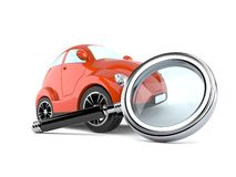 Car with magnifying glass Royalty Free Stock Photo