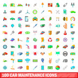 100 car maintanance icons set, cartoon style. 100 car maintanance icons set in cartoon style for any design vector illustration stock illustration