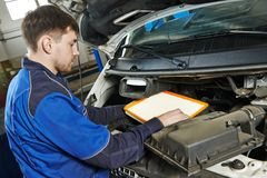 Car maintenance - air filter replacing Royalty Free Stock Photo