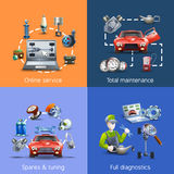 Car Maintenance Cartoon Icons Set Stock Images
