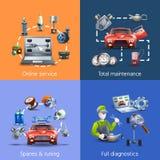 Car Maintenance Cartoon Icons Set Stock Images