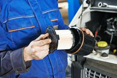 Car maintenance - filter replacing Royalty Free Stock Images