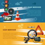 Car Maintenance Horizontal Banners. With stoplight speedometer cone fuel pump navigator candle wheel jack vector illustration Stock Photography