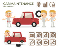 Car maintenance infographic. Set of garage icons. Royalty Free Stock Images
