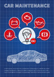 Car maintenance manager blue print vector illustration Royalty Free Stock Images