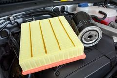 Oil and air filter on car engine Stock Photography