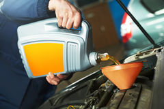 Car maintenance - oil replacing Royalty Free Stock Images