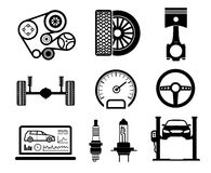 Car maintenance and repair icon set, vector Royalty Free Stock Images