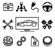 Car maintenance or service icons Stock Image