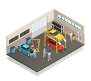 Car Maintenance Service Isometric Interior. Car repair maintenance autoservice center garage  isometric view interior with mechanics testing lifted vehicles Royalty Free Stock Photo