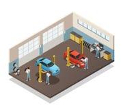 Car Maintenance Service Isometric Interior Stock Photos