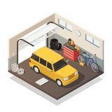 Car Maintenance Service Isometric Interior Royalty Free Stock Images