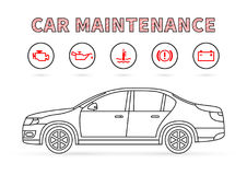 Car maintenance vector illustration on white background Royalty Free Stock Image