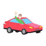 Car with man for hitch-hiking on white background. Vector flat illustration car with man rise hand hich-hiking on white isolated background Royalty Free Stock Photography