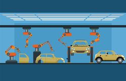 Car manufacturing process with smart robotic automotive assembly. Line, Factory of conveyor for assembly of cars, Modern engineering systems vector illustration Royalty Free Stock Photo