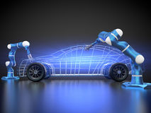 Car manufacturing is in progress. 3D rendering: car manufacturing is in progress Stock Photos