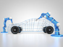 Car manufacturing is in progress. 3D rendering: car manufacturing is in progress Stock Images