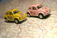 Car on a map Stock Photo